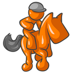 Clip Art Graphic of an Orange Guy Character Jockey Racing On A Horse
