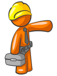 Clip Art Graphic of an Orange Guy Character Construction Worker Carrying A Box And Pointing