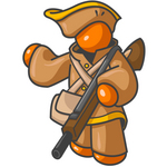 Clip Art Graphic of an Orange Guy Character In Historical Clothing, Holding A Rifle And Pointing