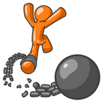 Clip Art Graphic of an Orange Guy Character Leaping Away From A Ball And Chain