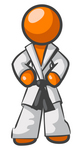 Clip Art Graphic of an Orange Guy Character Standing Proud In A Karate Suit