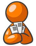 Clip Art Graphic of an Orange Guy Character Holding Three Envelopes Or Coupons