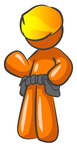 Clip Art Graphic of an Orange Guy Character Waving And Wearing A Hardhat And Toolbelt
