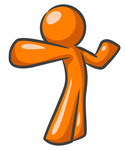 Clip Art Graphic of an Orange Guy Character Stretching Or Punching