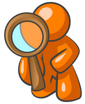 Clip Art Graphic of an Orange Guy Character Kneeling To Inspect Something Through A Magnifying Glass