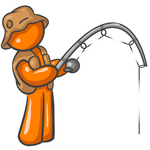 Clip Art Graphic of an Orange Guy Character Wearing Brown Fishing Gear And Holding His Fishing Pole