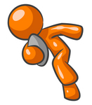 Clip Art Graphic of an Orange Guy Character Sprinting With A Football
