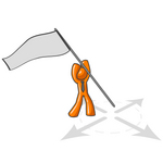 Clip Art Graphic of an Orange Guy Character Holding A Flag Above A Target