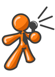 Clip Art Graphic of an Orange Guy Character Speaking Into A Microphone
