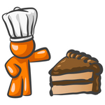 Clip Art Graphic of an Orange Guy Character In A Chef Hat, Presenting A Slice Of Chocolate Cake