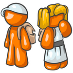 Clip Art Graphic of an Orange Character School Children Waiting At The Bus Stop
