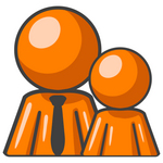 Clip Art Graphic of an Orange Guy Character In A Business Tie, Standing Behind His Child