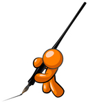 Clip Art Graphic of an Orange Guy Character Writing A Letter With A Large Ink Pen