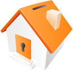 Clip Art Graphic of an Orange Home With A Keyhole And Coin Slot