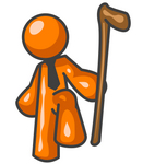 Clip Art Graphic of an Orange Guy Character Holding A Can And Lifting His Foot