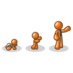 Clip Art Graphic of an Orange Guy Character Growing From A Baby To A Man