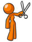 Clip Art Graphic of an Orange Woman Character Holding A Pair Of Scissors