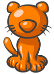 Clip Art Graphic of an Orange Kitty Cat Character Sitting