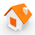 Clip Art Graphic of an White Home With An Orange Roof And Door