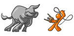 Clip Art Graphic of an Orange Guy Character Fighting Off A Bull With A Whip And Stool
