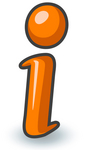 Clip Art Graphic of an Orange Information I