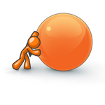 Clip Art Graphic of an Orange Guy Character Struggling To Push A Large Ball