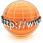 Clip Art Graphic of an Orange Internet Globe With Http Www On It