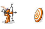 Clip Art Graphic of an Orange Guy Character Shooting Arrows At A Target