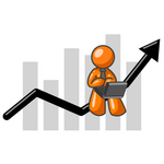 Clip Art Graphic of an Orange Guy Character Working On A Laptop And Riding Upwards On An Arrow Over A Bar Graph
