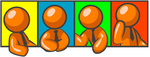 Clip Art Graphic of an Orange Guy Character In A Business Tie, Shown In Four Different Poses