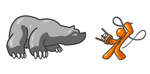 Clip Art Graphic of an Orange Guy Character Fighting Off A Bear With A Stool And Whip