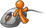 Clip Art Graphic of an Orange Guy Character Waving And Leaning Against A Computer Mouse