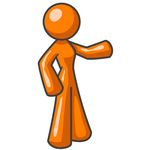 Clip Art Graphic of an Orange Woman Character Standing And Pointing