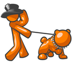 Clip Art Graphic of an Orange Guy Character Holding Onto His Hat And Walking His Strong Bulldog