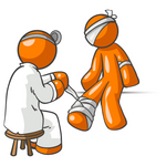 Clip Art Graphic of an Orange Guy Character Getting His Injuries Bandaged By A Doctor