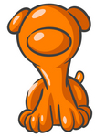 Clip Art Graphic of an Orange Dog Character Sitting And Looking Forward