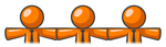 Clip Art Graphic of Orange Guy Characters Linking Together And Holding Hands