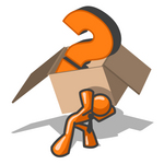 Clip Art Graphic of an Orange Guy Character Carrying A Heavy Box With A Question Mark