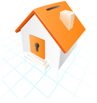 Clip Art Graphic of an orange and white home with a coin slot roof and keyhole dor, on top of a grid
