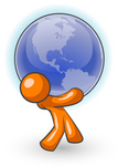 Clip Art Graphic of an Orange Guy Character Carrying A Heavy Blue Globe
