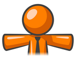 Clip Art Graphic of an Orange Guy Character Wearing A Business Tie, Holding His Arms Out