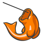 Clip Art Graphic of an Orange Fish Jumping On A Fishing Line