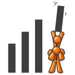 Clip Art Graphic of an Orange Guy Character Lifting His Business Partner To Hold Up The Tallest Line On A Bar Graph