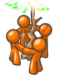 Clip Art Graphic of Orange Guy Characters Holding Hands And Circling A Tree