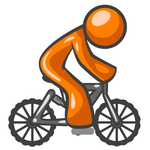 Clip Art Graphic of an Orange Guy Character Riding A Mountain Bike