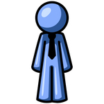 Clip Art Graphic of a Blue Guy Character In A Business Tie Standing Straight