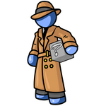 Clip Art Graphic of a Blue Guy Character Detective Carrying A Box