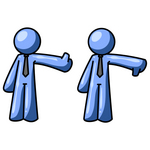 Clip Art Graphic of a Blue Guy Character Giving The Thumbs Up And Thumbs Down