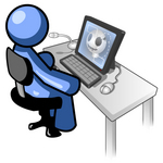 Clip Art Graphic of a Blue Guy Character Researching Skulls On A Computer