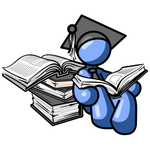 Clip Art Graphic of a Blue Guy Character In A Graduation Cap, Reading A Book